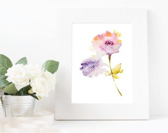 Watercolor Flower Digital Print, Nursery Wall Art Printable, Girls Room Print, Floral Art Print, Floral Wall Decor, Home Decor Art Gift