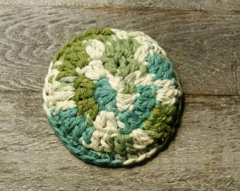 Scouring pad washable wool cotton and wool scrubby