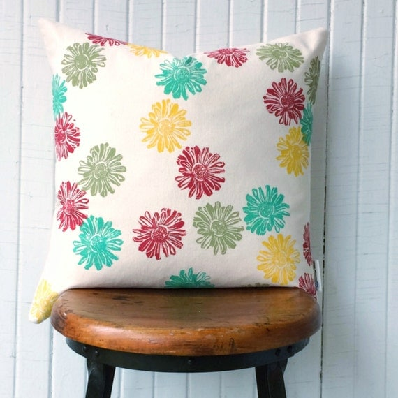 HAND PRINTED ORGANIC cotton canvas pillow cover, 18 inch, multi-coloured Heliopolis blooms.  This pillow is cheerful and one of a kind!