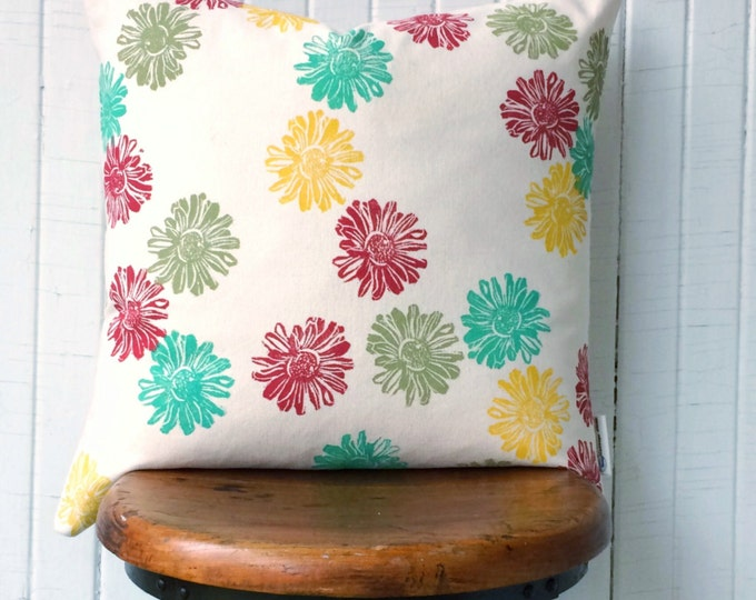 Organic canvas pillow cover - Heliopsis in multi