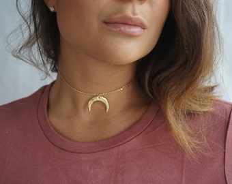 Layering Choker Necklace, Gold Crescent Moon Necklace, Double Horn Necklace, Bohemian Jewelry,Half Moon Necklace, Minimalist Dainty Necklace