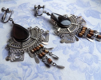 Large vintage clips on earrings, chandelier tribal earring clips, long dangle earrings, black obsidian pear drop earrings, gypsy jewellery