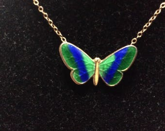 Enamel Butterfly Necklace Gold Filled Child's Length Blue Green