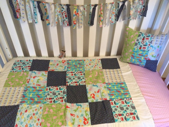 Items Similar To Under The Sea Baby Quilt Set, Mermaid