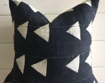 18x18 Authentic Grey Blue African Mudcloth Pillow Cover