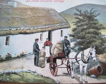 An Irish Hillside Cottage postcard (unposted) / thatched roof cottage / Cavanagh Cottage / Valentine Post cardPost Card