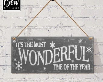 It's the most wonderful time of the year sign plaque christmas grey