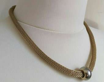 Vintage gold tone tubular mesh necklace