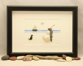 Pebble art picture, couple with dog on the beach, family, pet, animal, wedding picture, engagement picture, valentine's picture