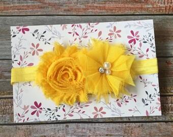 Yellow Headband, Yellow Baby Headband, Baby Headband, Infant Headband, Newborn Headband, Baby Girl Headband, Baby Hair Bow, Girl Headband