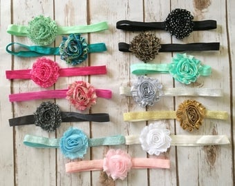 YOU PICK 4 Baby Headbands/Newborn Headband/Baby Girl Headband/Infant Headband/Toddler Headband/Shabby Chic Headbands/Baby Headband/Hair Bow