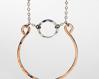 Jackie Bronze and Sterling Silver Circles Necklace
