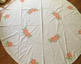 """Vintage Large Linen Circular Tablecloth With Orange Cross Stitched Flowers - 60"""" Diameter"""