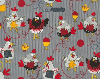 Knitting Chickens in Gray from the Knitting Chickens Collection from Timeless Treasures, Chickens, Novelty
