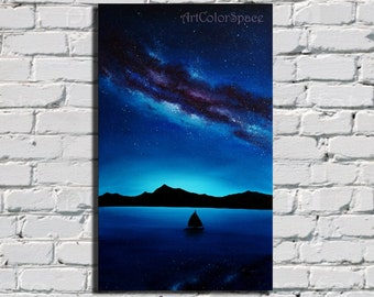 Galaxy painting Milky Way painting Starry sky Oil painting on canvas Night sky Space art Gift idea Wall Art Landscape painting FREE SHIPPING