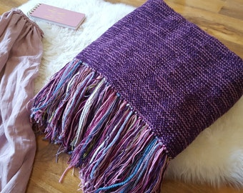 Chunky Soft knitted blanket with fringe , throw with fringe,purple/aubergine  blanket