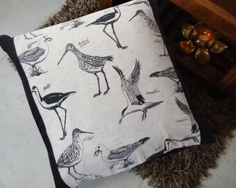 "Birds Pillow Cover, Birds Printed Black Euro Sham, Accent Pillow, Standard Size 24"" x 24"",Floor Cushion,Gift For Her, Housewarming Present"