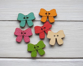 Wooden Buttons Bowknot - 5 pcs