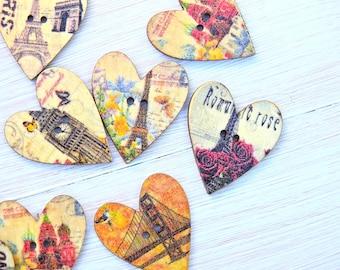Wooden Buttons Paris Heart - 5 pcs