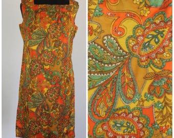 Vintage 1960s Paisley Shift Dress - 60s Psychedelic Mod Sundress - Size Medium, Large, M, L