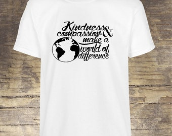 Kindness Shirt, Unisex Crew Neck Tee, Compassion, Make a Difference, Kind is Cool