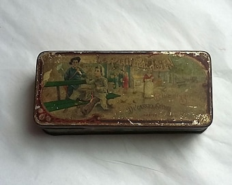 Antique Lithographed French Le Petit Parisien Biscuit Tin, Ducasse & Guibal