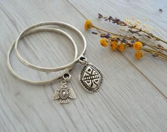 Silver Thunderbird/Scarab bangle cuff bracelet, Silver Cuff Bangle Bracelet, Native American Navajo inspired bangle cuff bracelet jewelry