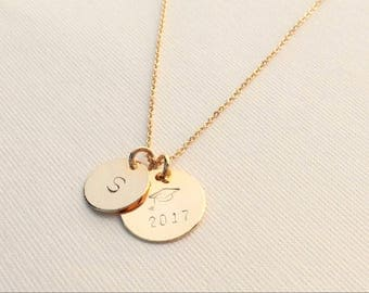 Personalized Graduation Necklace/ 15 mm Charm - Graduation Cap with Year (2017 or )/ 12mm Charm - Initial/ Gift for Graduates