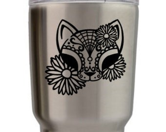 Sugarskull Cat Decal, Cat Decal, Cute Cat Decal, Crazy Cat Lady Decal, Cat Sticker, Cat, Cat Tumbler Decal, Cute Decal, Sugar Skull, Decal