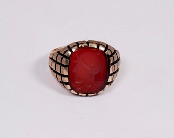 10K Yellow Gold Mens Carved Carnelian Ring, Size 12.25