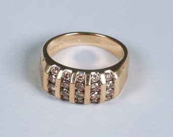 14K Yellow Gold Mens 1 ct. tw. Diamond Ring, Size 10.5