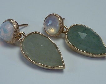 14K Yellow Gold Jade and Opal Earrings, 6.6 grams