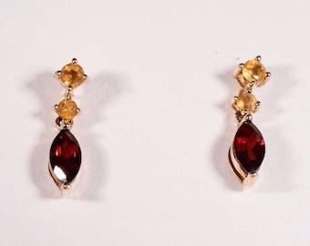 1.7 Gram 10K Yellow Gold Citrine and Garnet Dangle Earrings