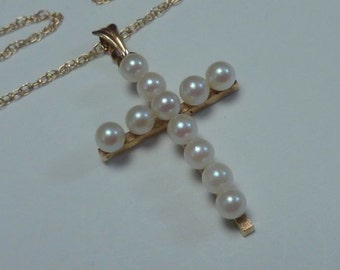 "14K Yellow Gold 18"" Chain w/ Pearl Cross Pendant"