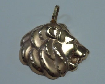 "14K Yellow Gold ""Lion Head"" Puffed (Hollow) Pendant"