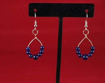 Dark navy blue teardrop  earrings
