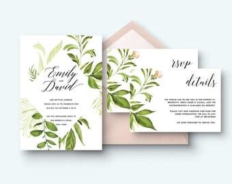 Printable invitation set, Botanical Minimalist invitation, Invitation suite, Invitation kit, save the date, Invitation, RSVP card, details