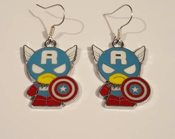 Captain America Superhero Earrings