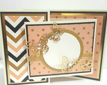 Chic Greeting Card, Custom Handmade Card, Customizable Greeting Card, Specialty Z-Fold Card