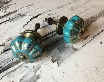 Decorative Turquoise Ceramic Knobs, Drawer Pulls, Furniture Cabinets Knob Item #451692470