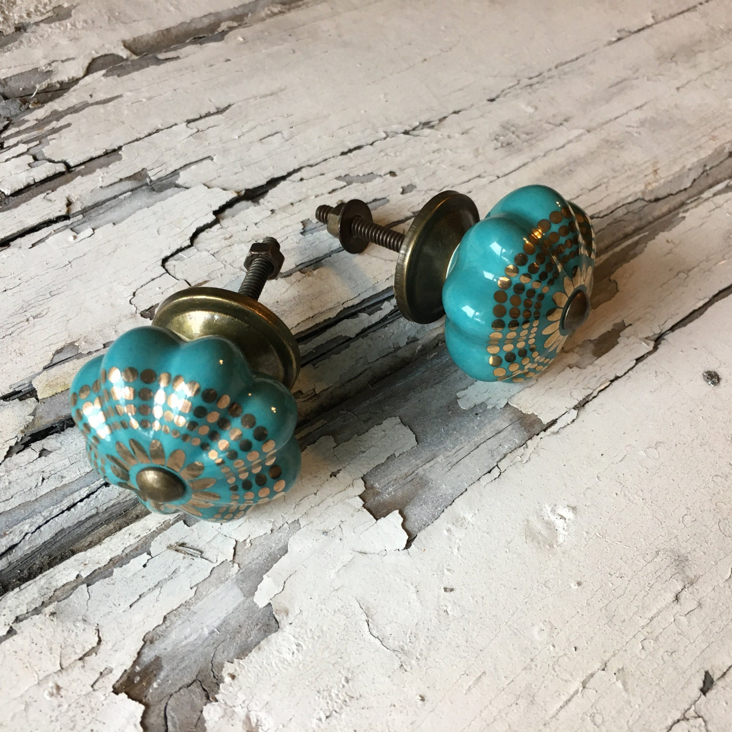 Decorative turquoise ceramic knobs drawer pulls furniture for Turquoise door knobs