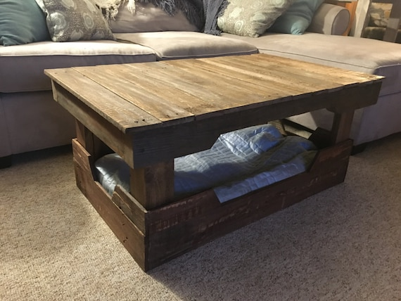 Wooden Coffee Table With Dog Bed