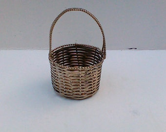 Old silver metal small basket