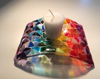 Rainbow fused glass candle holder, tea light holder