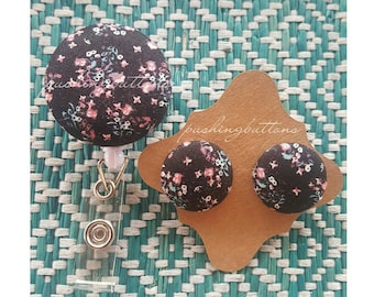 Black Floral FabricButtonEarrings or Badgeholder