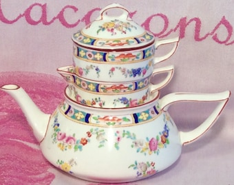 Pretty in Pink-Very Rare Mintons Rose Stackable Single Serve Teapot