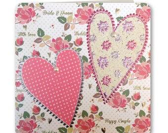 Sale! 70% off Was 3.25 now 0.98p Festive Folk Collection - Wedding Card - Hearts - Congratulations -  FE82