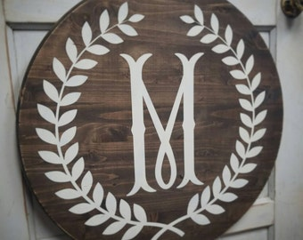 Round Wreath Monogram sign