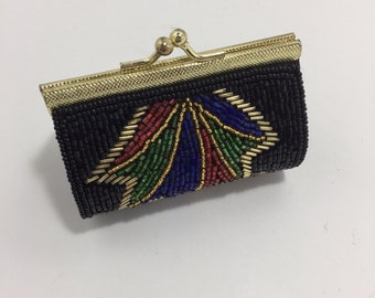 Vintage Beaded Coin Change Purse With Clasp