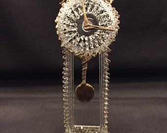 Very Delicate Vintage Glass Whimsy Grandfather Clock